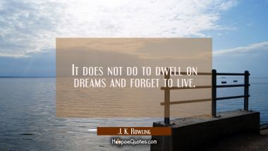 It does not do to dwell on dreams and forget to live. J. K. Rowling Quotes