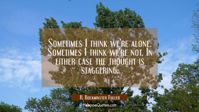 Sometimes I think we're alone. Sometimes I think we're not. In either case the thought is staggerin
