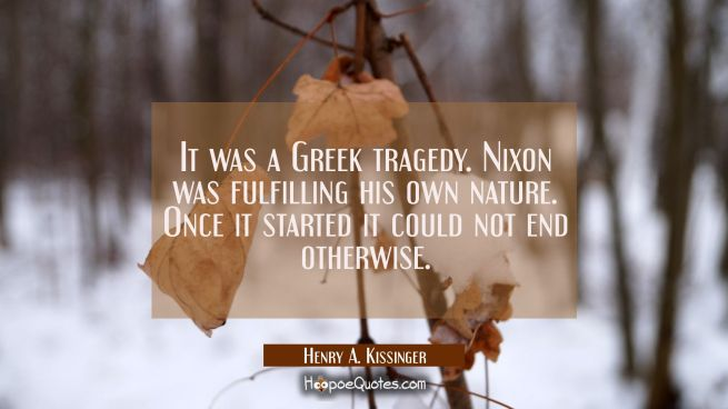 It was a Greek tragedy. Nixon was fulfilling his own nature. Once it started it could not end other