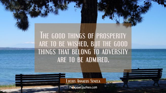 The good things of prosperity are to be wished, but the good things that belong to adversity are to
