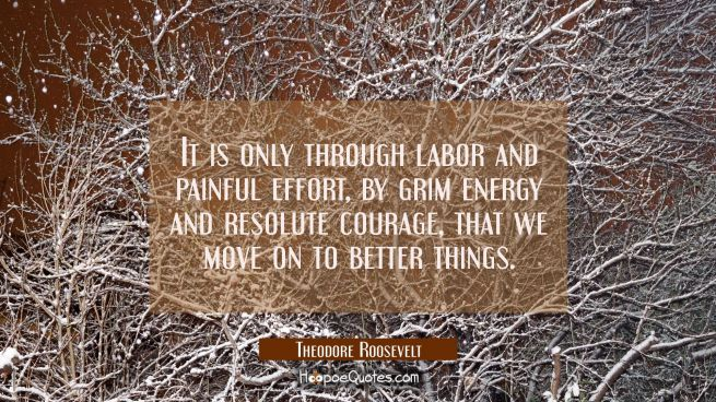It is only through labor and painful effort by grim energy and resolute courage that we move on to