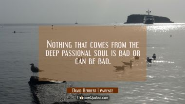 Nothing that comes from the deep passional soul is bad or can be bad.