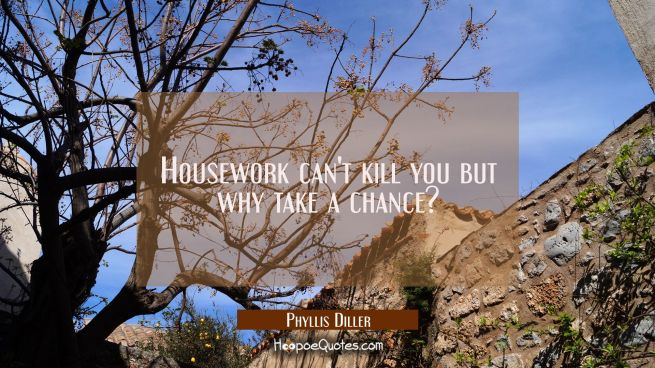 Housework can't kill you but why take a chance?