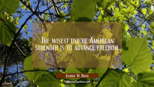 The wisest use of American strength is to advance freedom.