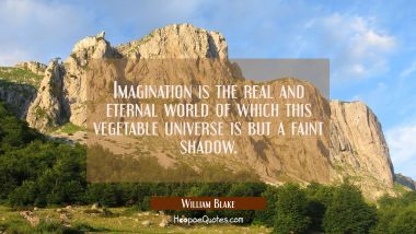 Imagination is the real and eternal world of which this vegetable universe is but a faint shadow. William Blake Quotes