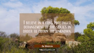 I believe in a long prolonged derangement of the senses in order to obtain the unknown.