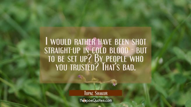 I would rather have been shot straight-up in cold blood-but to be set up? By people who you trusted