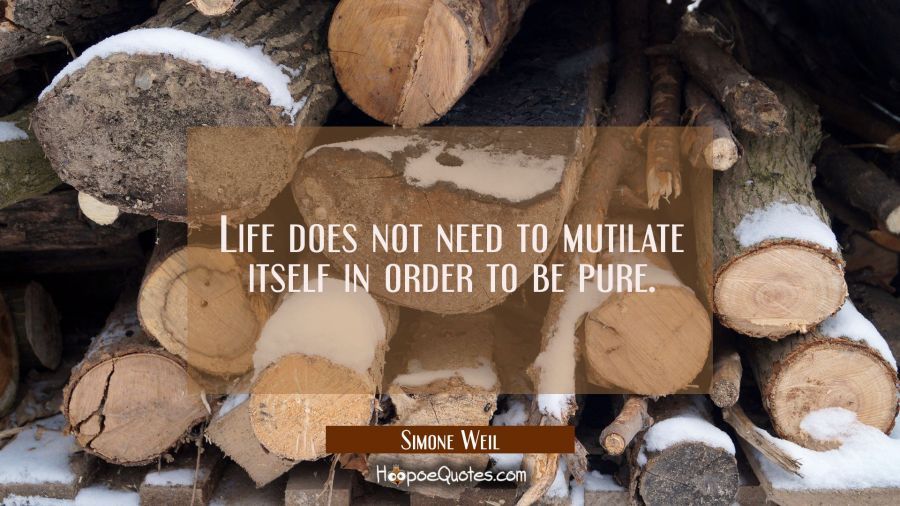 Life does not need to mutilate itself in order to be pure. Simone Weil Quotes
