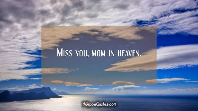 Miss you, mom in heaven.