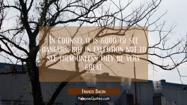 In counsel it is good to see dangers, but in execution not to see them unless they be very great