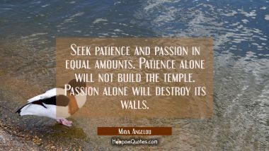 Seek patience and passion in equal amounts. Patience alone will not build the temple. Passion alone will destroy its walls. Maya Angelou Quotes
