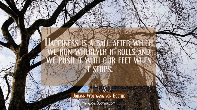 Happiness is a ball after which we run wherever it rolls and we push it with our feet when it stops
