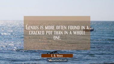 Genius is more often found in a cracked pot than in a whole one.