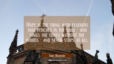 Hope is the thing with feathers that perches in the soul - and sings the tunes without the words - Emily Dickinson Quotes