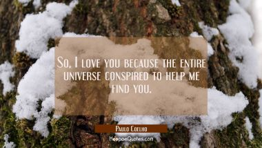 So, I love you because the entire universe conspired to help me find you. Paulo Coelho Quotes