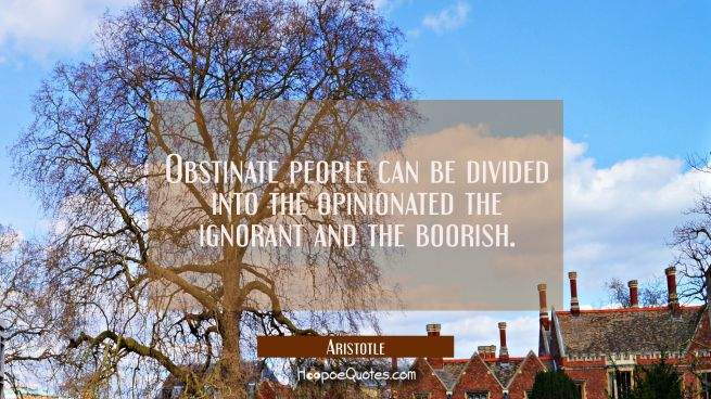 Obstinate people can be divided into the opinionated the ignorant and the boorish.