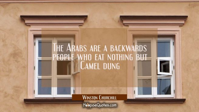 The Arabs are a backwards people who eat nothing but Camel dung