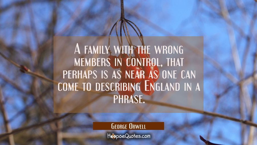 A family with the wrong members in control, that perhaps is as near as one can come to describing E George Orwell Quotes