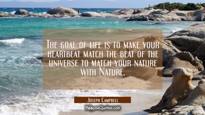 The goal of life is to make your heartbeat match the beat of the universe to match your nature with