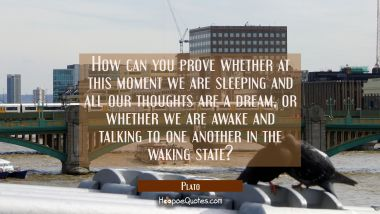 How can you prove whether at this moment we are sleeping and all our thoughts are a dream, or wheth Plato Quotes