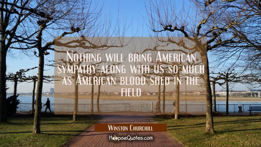 Nothing will bring American sympathy along with us so much as American blood shed in the field Winston Churchill Quotes