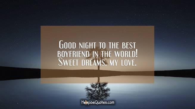 Good night to the best boyfriend in the world! Sweet dreams, my love.