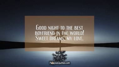 Good night to the best boyfriend in the world! Sweet dreams, my love. Good Night Quotes