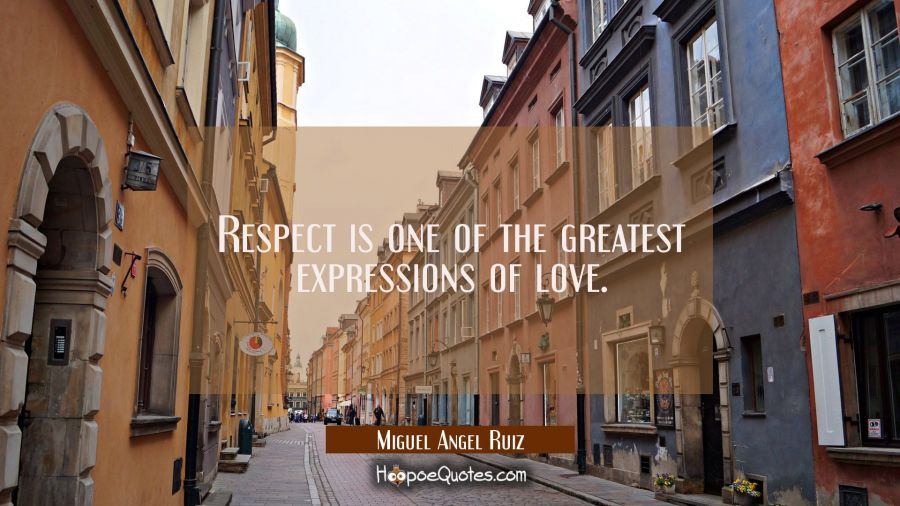 Respect is one of the greatest expressions of love. Miguel Angel Ruiz Quotes