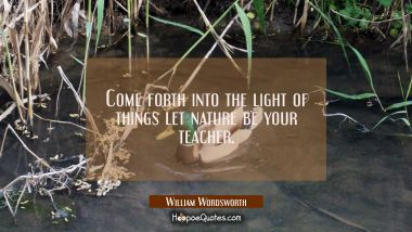 Come forth into the light of things let nature be your teacher.