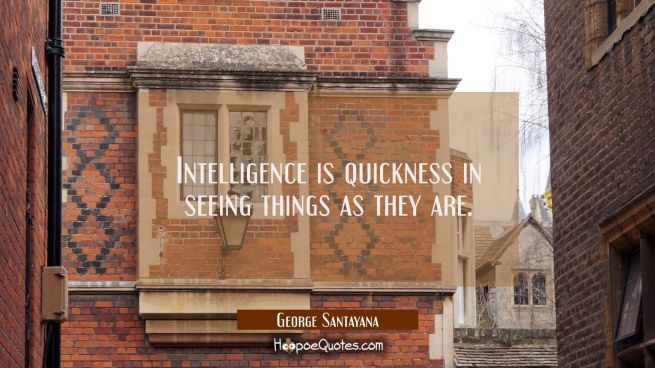 Intelligence is quickness in seeing things as they are.