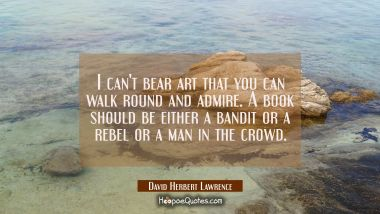 I can't bear art that you can walk round and admire. A book should be either a bandit or a rebel or