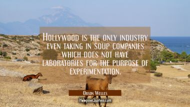 Hollywood is the only industry even taking in soup companies which does not have laboratories for t