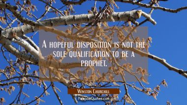 A hopeful disposition is not the sole qualification to be a prophet.