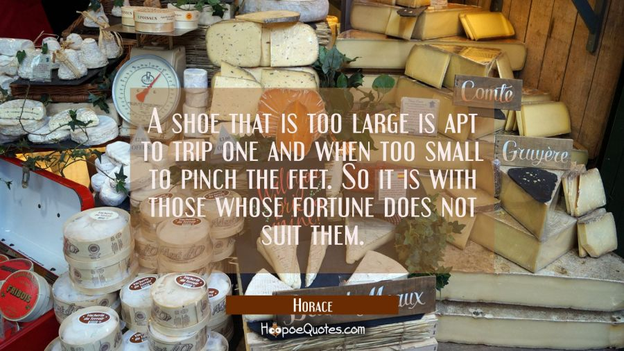 A shoe that is too large is apt to trip one and when too small to pinch the feet. So it is with tho Horace Quotes