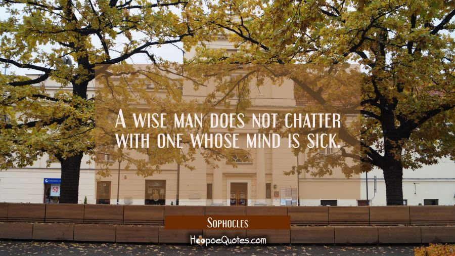 A wise man does not chatter with one whose mind is sick. Sophocles Quotes