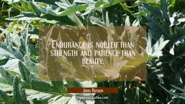 Endurance is nobler than strength and patience than beauty.