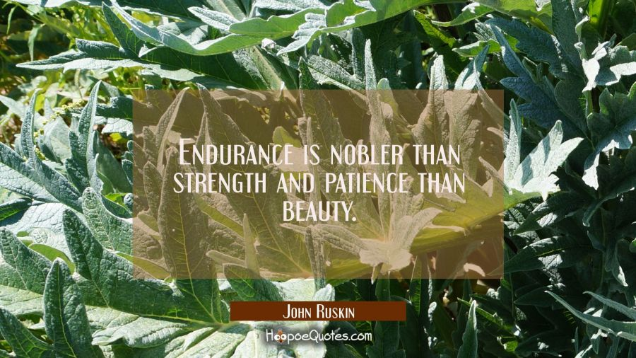 Endurance is nobler than strength and patience than beauty. John Ruskin Quotes
