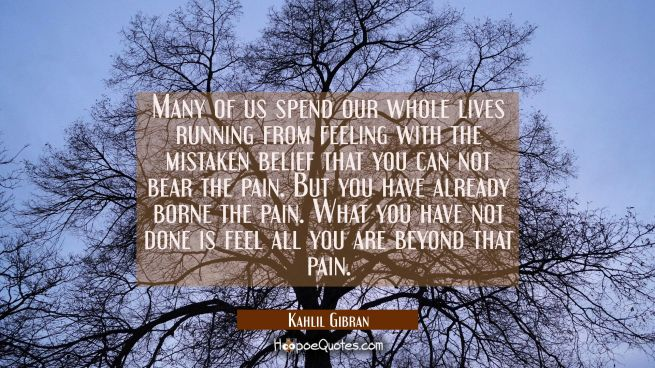 Many of us spend our whole lives running from feeling with the mistaken belief that you can not bear the pain. But you have already borne the pain. What you have not done is feel all you are beyond that pain.