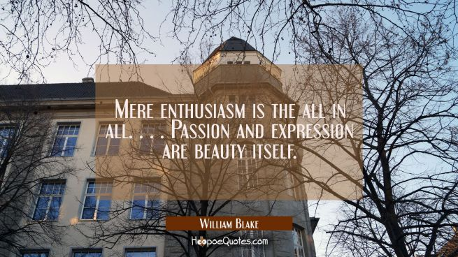 Mere enthusiasm is the all in all. . . . Passion and expression are beauty itself.