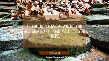 If you don't know where you are going any road will get you there. Lewis Carroll Quotes