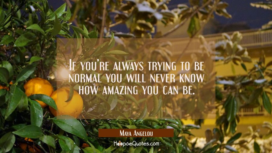 If you're always trying to be normal you will never know how amazing you can be. Maya Angelou Quotes