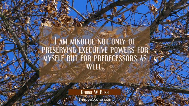 I am mindful not only of preserving executive powers for myself but for predecessors as well.