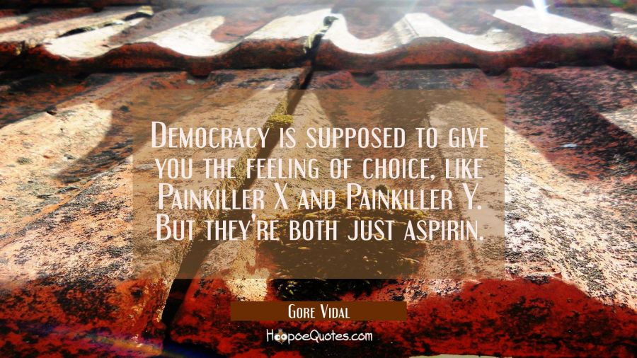 Democracy is supposed to give you the feeling of choice like Painkiller X and Painkiller Y. But the Gore Vidal Quotes
