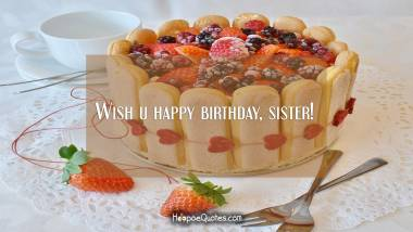 Wish u happy birthday, sister! Quotes