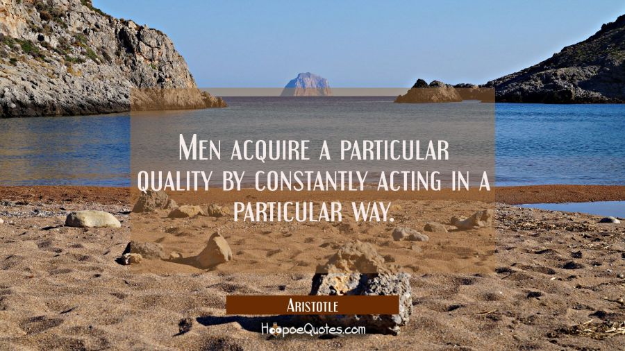 Men acquire a particular quality by constantly acting in a particular way. Aristotle Quotes