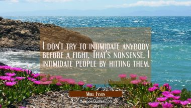 I don't try to intimidate anybody before a fight. That's nonsense. I intimidate people by hitting t