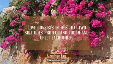 Love consists in this that two solitudes protect and touch and greet each other. Rainer Maria Rilke Quotes