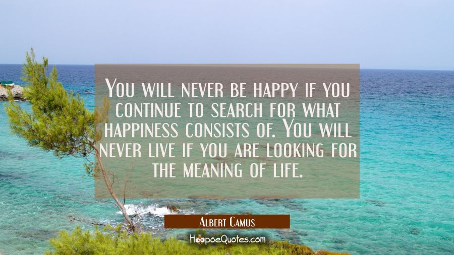 You will never be happy if you continue to search for what happiness consists of. You will never li Albert Camus Quotes