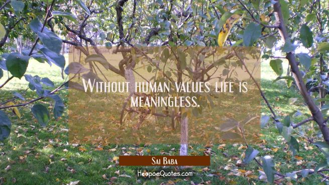 Without human values life is meaningless.