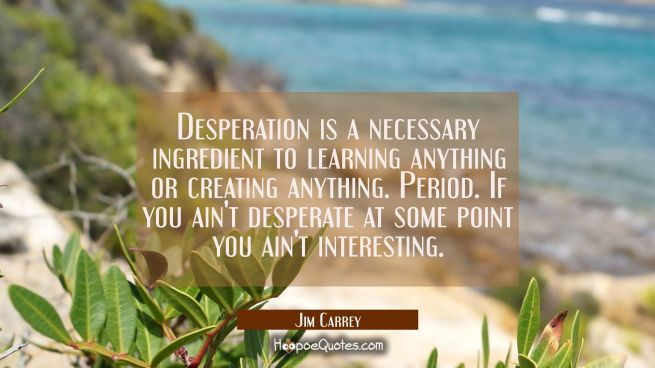 Desperation is a necessary ingredient to learning anything or creating anything. Period. If you ain